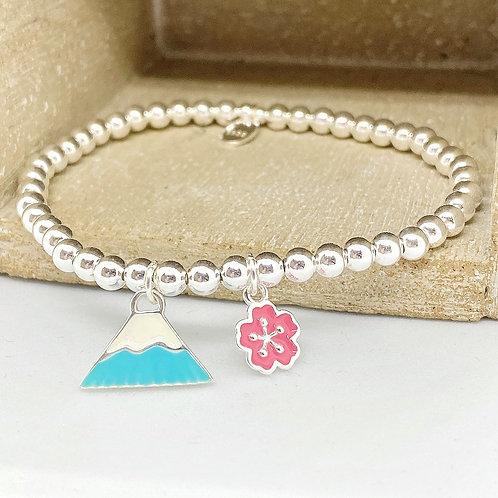 Blue Mt. Fuji with Pink Sakura Silver 925 Bracelet