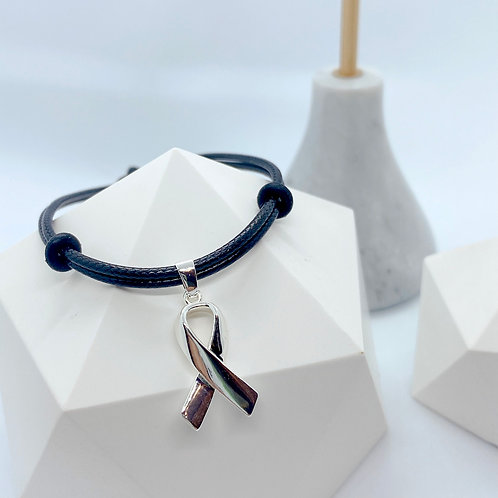 Awareness Ribbons S925 Leather Bracelet