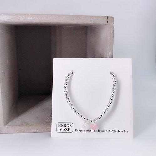 Pink Sweet Heart Initial Silver 925 Bracelet