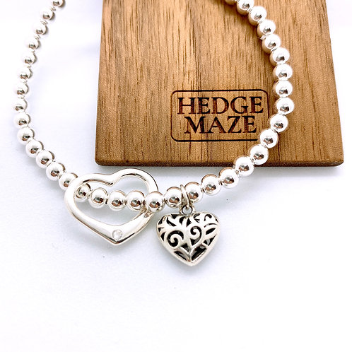 Two Sweet Hearts Silver 925 Bracelet