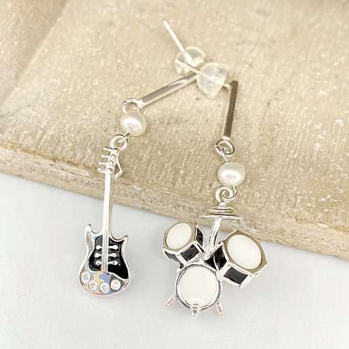 Guitar and Drums Set Silver 925 Fresh Water Pearl Earrings