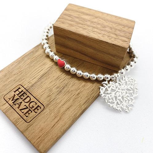 Leave in Heart Shape Silver 925 Bracelet