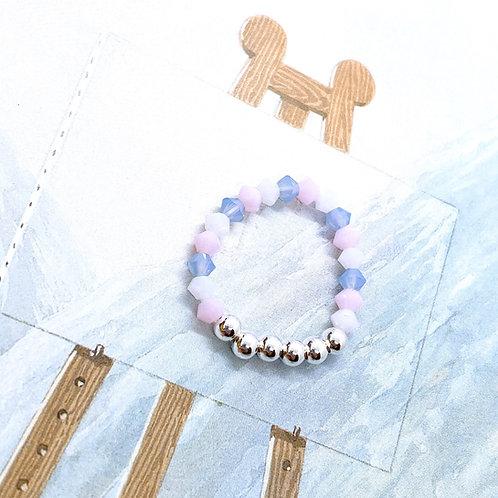 Silver 925 & Swarovski Crystal Ring 2 (Pink, White, Blue)