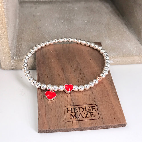 Two Red Sweet Hearts Silver 925 Bracelet