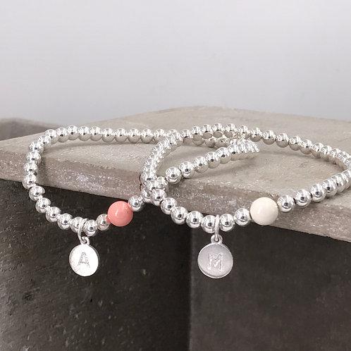 Initial 925 Silver and Swarovski Crystal Bracelet