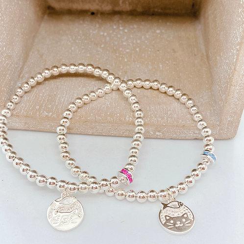 Cutie Cat and Fish Silver 925 Bracelet