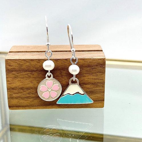 Blue Mt. Fuji with Sakura in Circle Silver 925 & Fresh Water Pearl Earrings