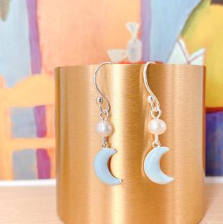 Two Moons Silver 925 & Fresh Water Pearl Earrings