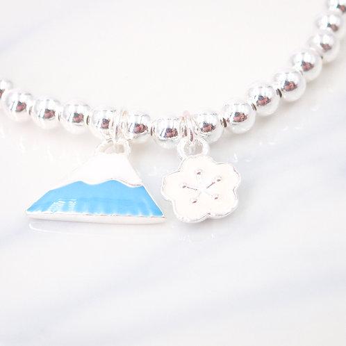 Blue Mt. Fuji with White Sakura Silver 925 Bracelet