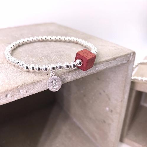 Wooden Cube Initial Silver 925 Bracelet