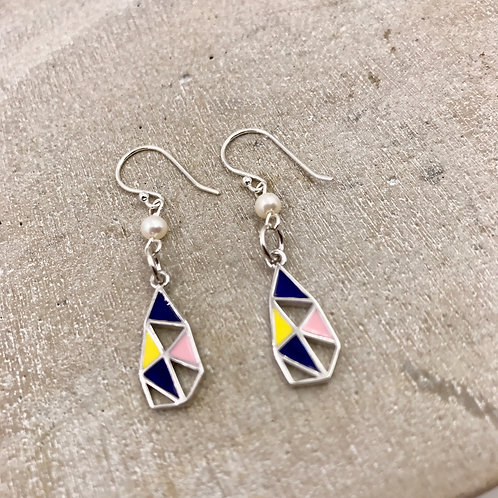 Geomeric Shapes Silver 925 & Fresh Water Pearl Earrings