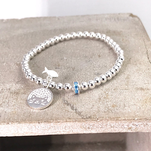 Cutie Cat and Fish Silver 925 Bracelet