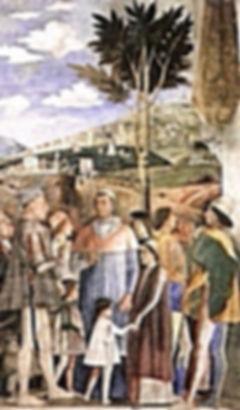 """Андреа Мантенья """"Встреча"""", 1474 г. Лаготто Романьоло в левом углу"""