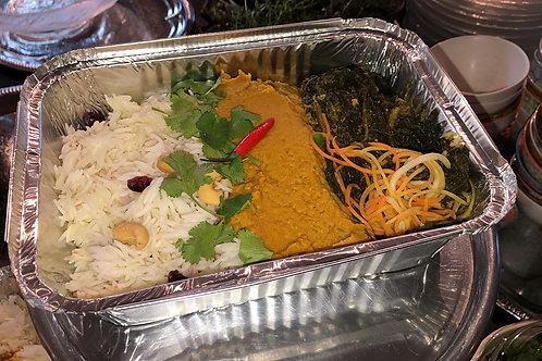 Jasminreis mit Herzcurry Daal und Gemüse