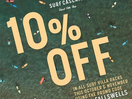 10% Off All Surf Villa Packs this October & November