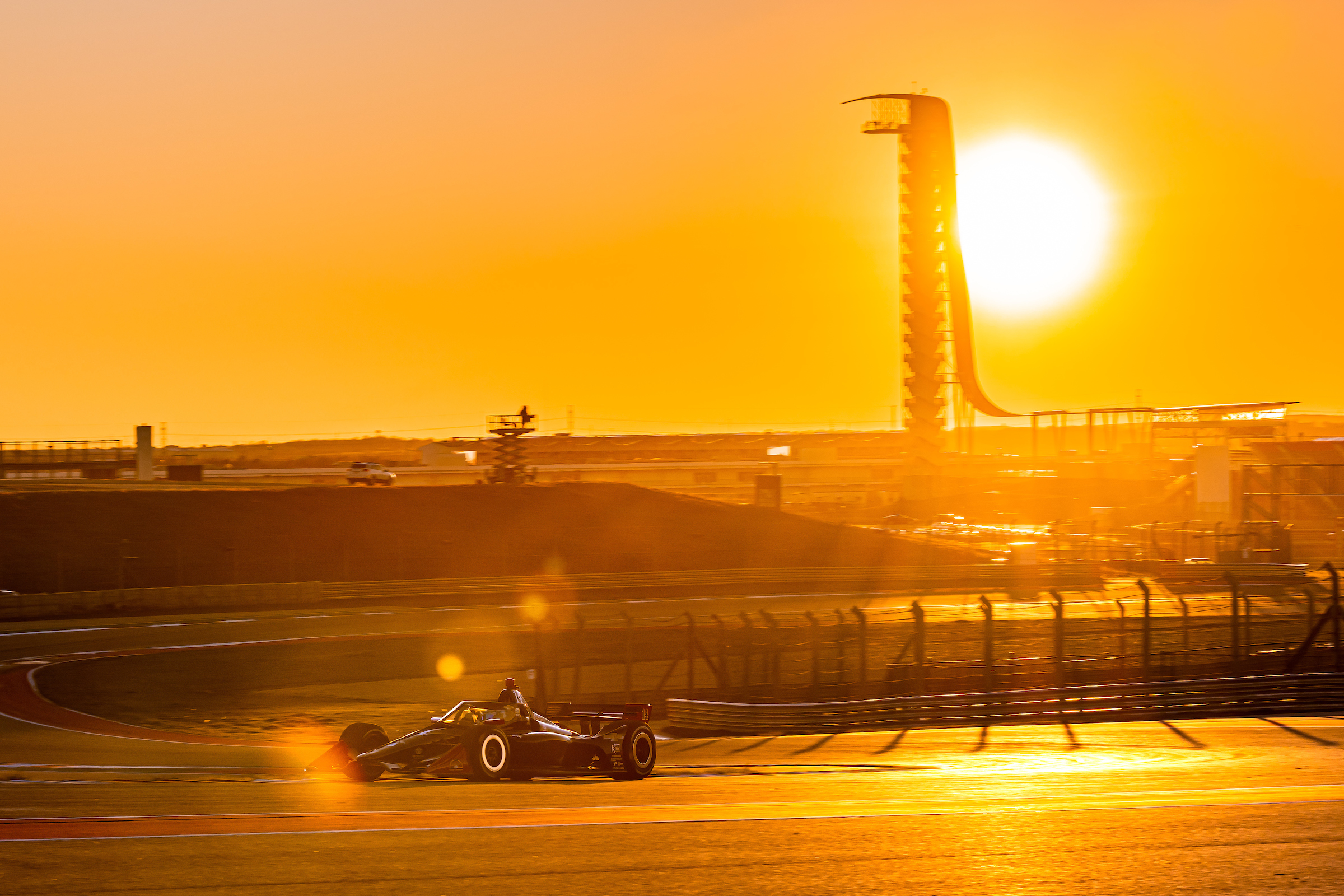 Driving at COTA at sunset