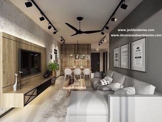 Projeto de decoração para sala pequena conjugada - sala de Tv e sala de jantar - J Tagler Design