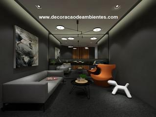Projeto 3D de decoração corporativa
