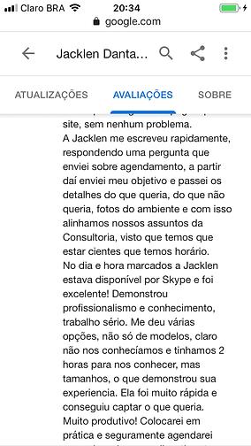 Avaliação clientes Jacklen Dantas design de interiores Rio de janeiro RJ
