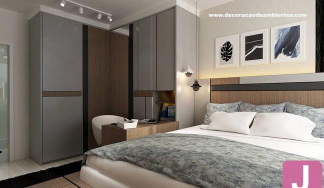Projeto de decoração para quarto de casal planejado com home office - Vila Nova Conceição - Sâo Paulo SP