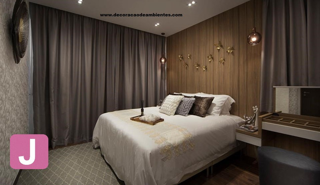 Decoracao do quarto de casal estilo rustico - Barra da Tijuca - Rio de Janeiro - RJ