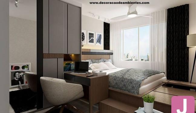 Projeto de decoração de quarto de casal pequeno com móveis planejados e home office - Vila Nova Conceição - São Paulo SP