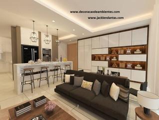 Projeto: Sala pequena decorada com cozinha americana - Rio de Janeiro