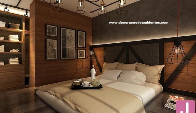 Projeto de decoração rústica para quarto de casal - Pinheiros São Paulo SP