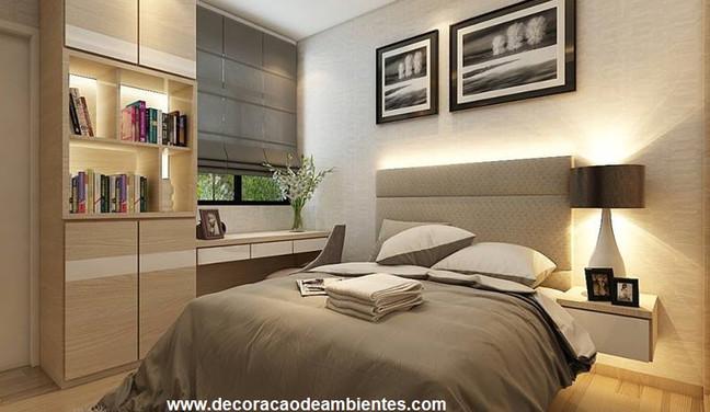 Projeto de decoração para quarto pequeno de casal - Vila Mariana - São Paulo - SP
