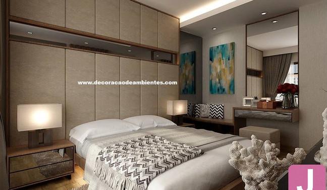 Projeto de decoração para quarto de casal pequeno em apartamento alugado - Jardins - São Paulo SP