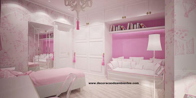 Projeto de decoração de interiores quarto infantil juvenil menina