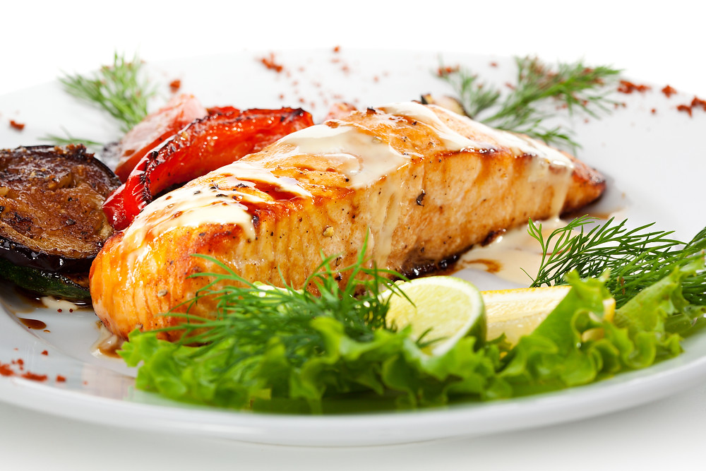 Salmon Steak with Grilled Vegetables, White Sauce and Lime.jpg