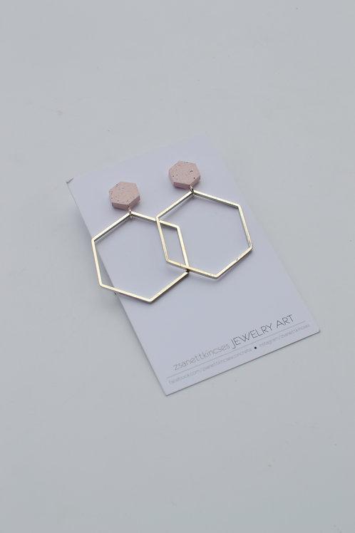 zsanettkincses // Geolo Concrete fülbevaló rózsaszín hatszög
