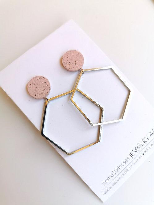 zsanettkincses // Geolo Concrete ezüst hatszög rózsaszín kör