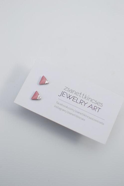 zsanettkincses // Háromszög rózsaszín fülbevaló ezüst fóliával