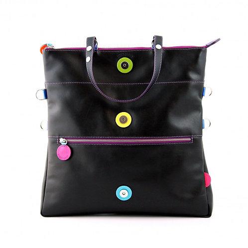Lengyel Zsuzsi // Nagy négyzet táska fekete színes dekorkörökkel