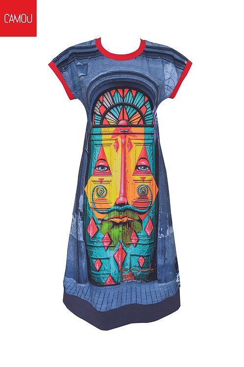Camou // Megkötős színes kapus ruha