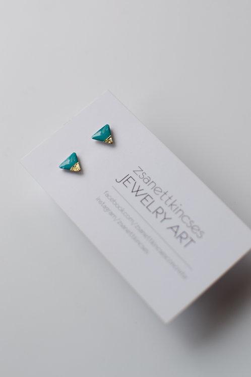 zsanettkincses // Háromszög türkiz fülbevaló arany fóliával