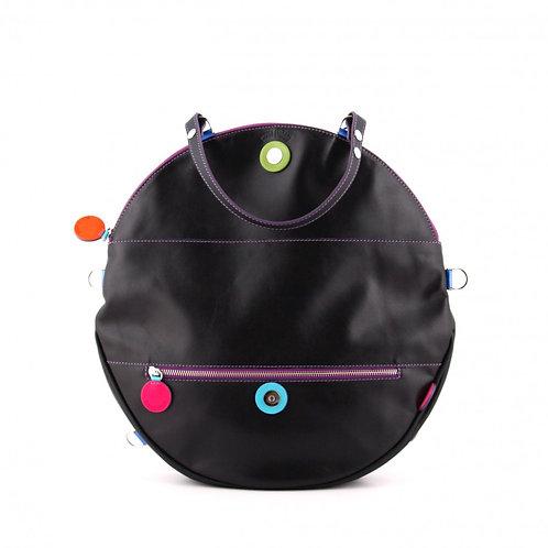Lengyel Zsuzsi // Nagy kör táska fekete színes dekorkörökkel