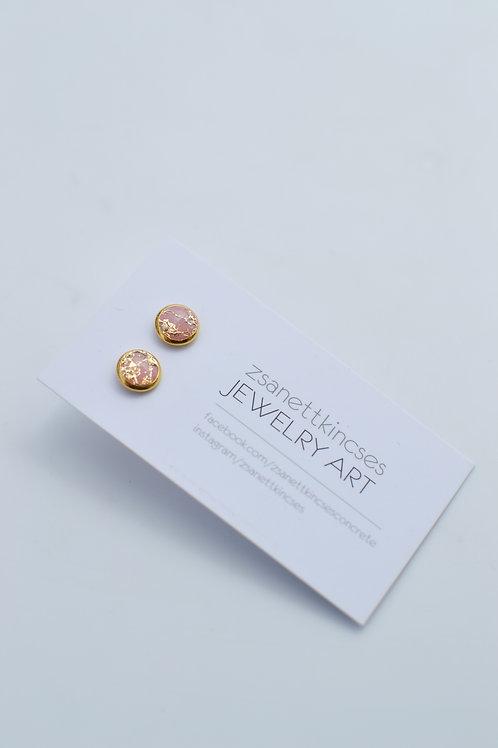 zsanettkincses // Arany peremes és fóliás rózsaszín pötty fülbevaló