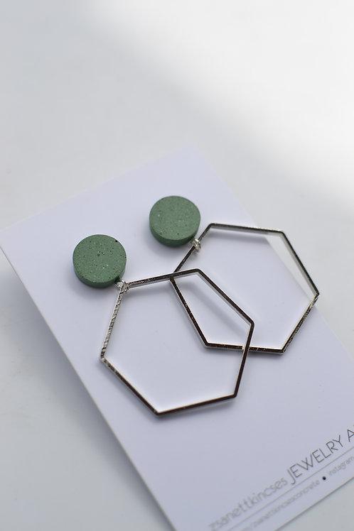 zsanettkincses // Geolo Concrete fülbevaló zöld kör