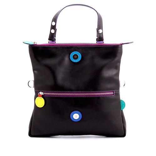 Lengyel Zsuzsi // Kis négyzet táska fekete színes dekorkörökkel