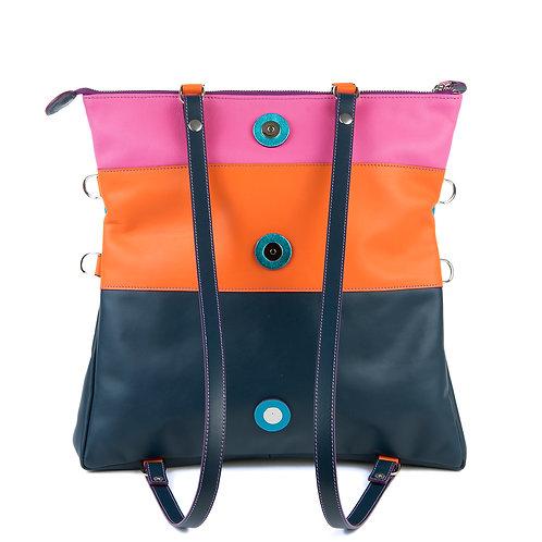 Lengyel Zsuzsi // Nagy négyzet táska pink-narancs-türkiz