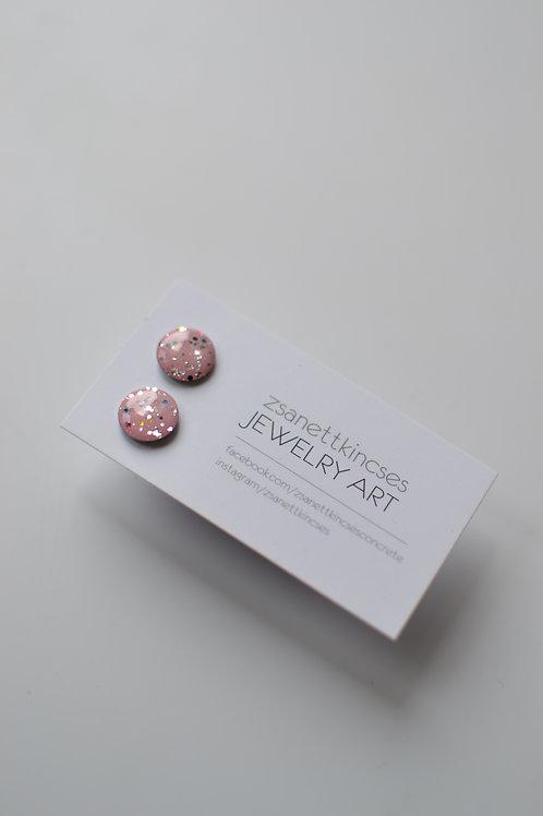 zsanettkincses // Csillámos rózsaszín pötty fülbevaló