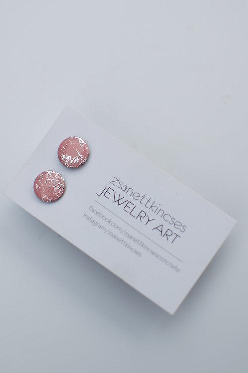 zsanettkincses // Ezüst fóliás rózsaszín pötty fülbevaló