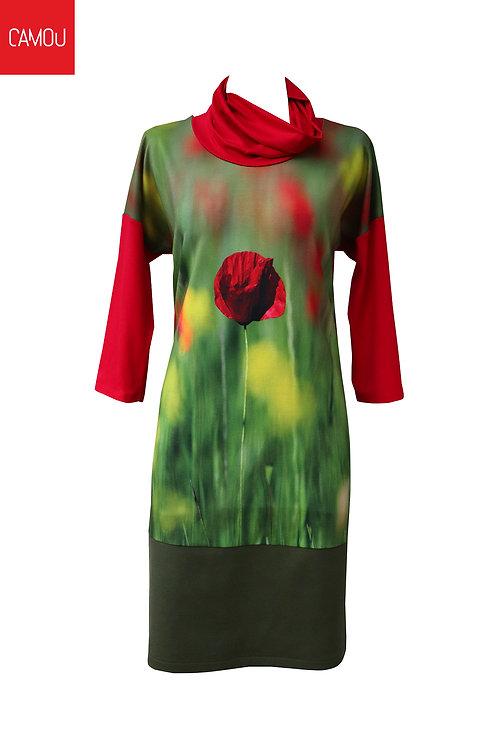 Camou // Megkötős pipacsos ruha (az új verzió fekete aljú)