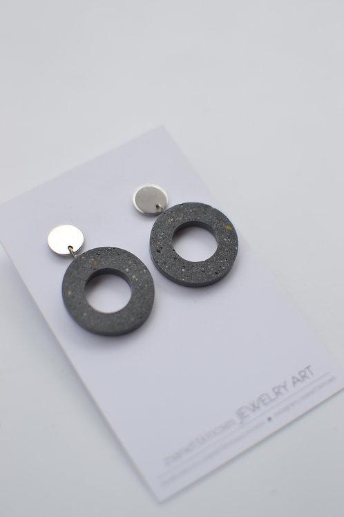 zsanettkincses // Geolo Concrete szürke karika ezüst elemmel