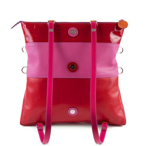 Lengyel Zsuzsi // Nagy négyzet táska pink-piros lakk