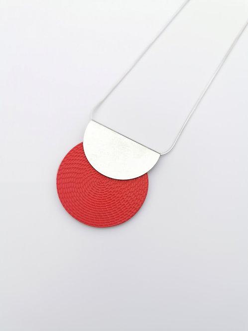 zsanettkincses // Félkör betétes nyaklánc piros