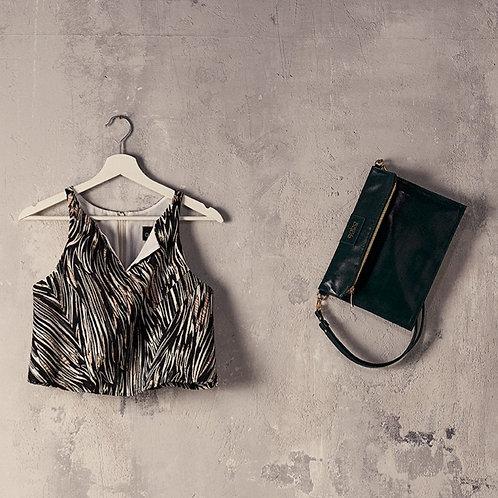 Gabo Szerencses //Brokát crop top, fekete-fehér